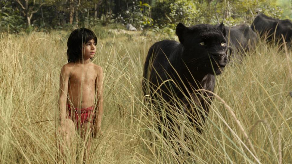 Mowgli (Neel Sethi) e la pantera Baghera in una scena de Il Libro della Giungla
