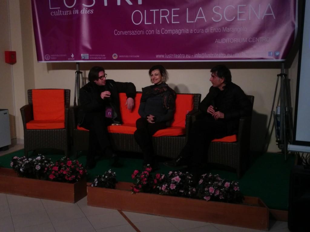 Il direttore artistico di Lustri Enzo Marangelo (a sinistra) con i due protagonisti (Francesco Guarino)