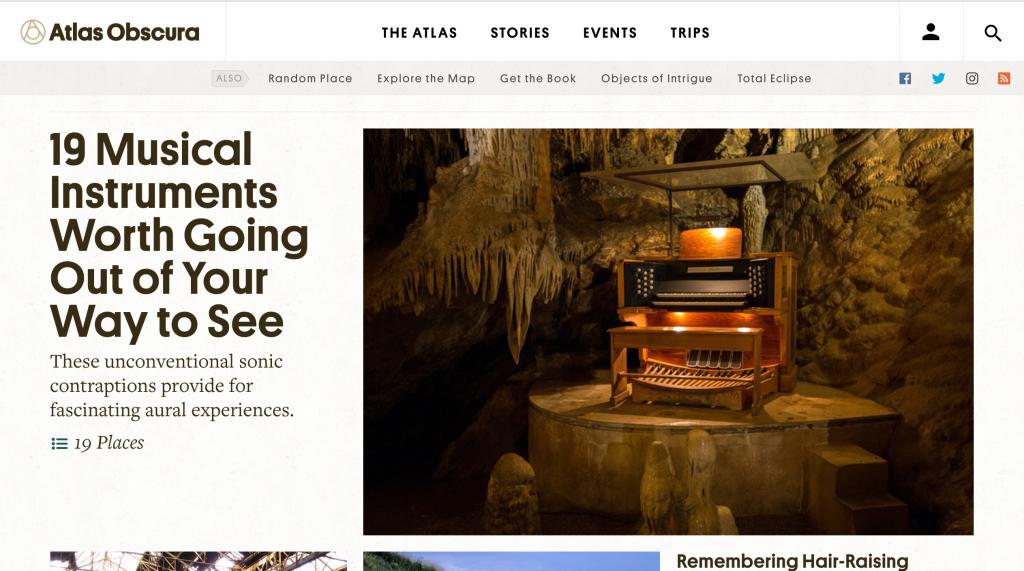 (Home page del sito web di Atlas Obscura: www.atlasobscura.com)